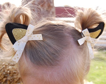 """Kitten Ears Hair Clips """"Purrfect"""" for Black Cat Costume or Kitty Halloween Costume Dress Up Costumes"""