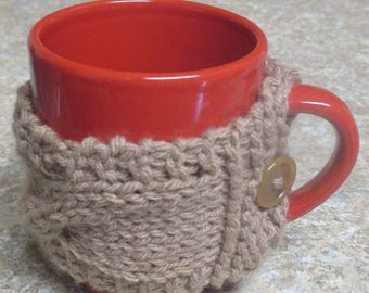 Knitted Coffee mug cozy, coffee sleeve, coffee tea cup cozy