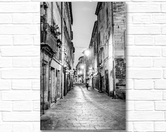 France Fine Art Photograph on Canvas - Street Scene at Night, Gallery Wrapped Canvas, Black and White Urban Home Decor, Large Wall Art