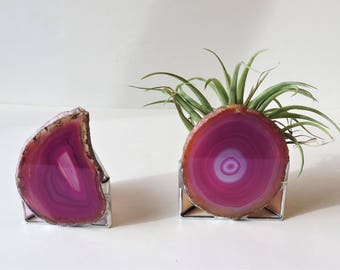 Stained Glass & Agate Air Plant Holder Fuschia Pink Agate Home Decor Handmade