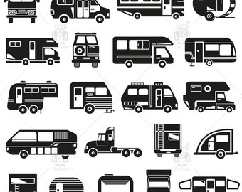 Camping Car, Motorhome,  Recreational Vehicle Silhouettes Clip art, png jpg svg eps files