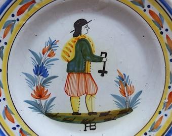 19th century Quimper plate from HB. Hubaudière Bousquet. Antique Quimper pottery plate. Breton man decor. Signed Quimper.