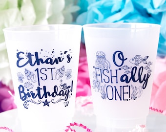 Ofishally One, Ofishally 1 Birthday Cups, Fishing Birthday Theme, Fishing Party, Fish First Birthday, Personalized Cups, Shatterproof Cups