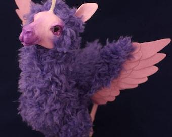 Llama Pegacorn, poseable art doll OOAK