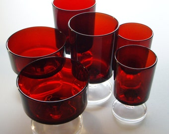 Vintage Ruby Red Glasses and Compotes or Dessert Dishes - Luminarc Cavalier - 6 pieces - 2 of each