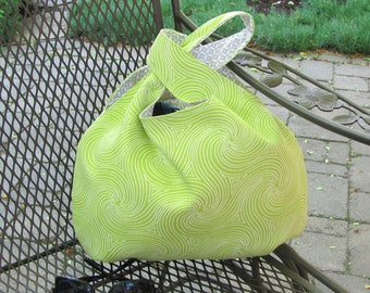 Large knitting bag, crochet project bag, Japanese Knot handbag, Lime green with white swirl design, Gift for Knitter