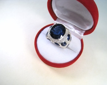 21.59 CTW Blue & White Sapphire Ring size 7.25 - White Gold over 925 Sterling Silver