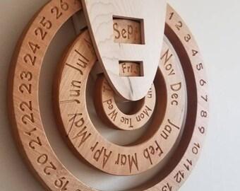 Ewiger Kalender, Holz ewiger Kalender, Holz Kalender, ewiger Kalender, immer Kalender, nie endenden Kalender, Kalender