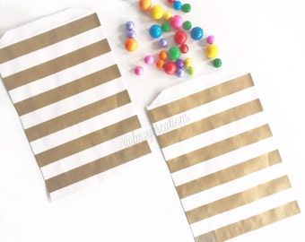 Gold Favor Bags, Metallic Gold Stripe Favor Bags, 50th Birthday Party, 50th Wedding Anniversary, Gold Wedding, Gold Shower