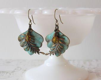 Verdigris Patina Leaf Earrings // Brass & Czech Glass Dangles