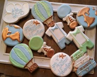 World Travel Boy Baby Shower Cookies - One Dozen