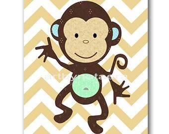 Monkey Nursery Kids wall art Baby Nursery Decor Baby Boy Nursery Kids Art Baby Room Decor Nursery Print Boy Art brown gray blue