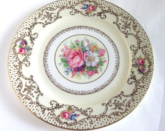 Vintage Rosenthal China Ornate Gold Decorated Dinner Plates Roses Bouquet Set of 6