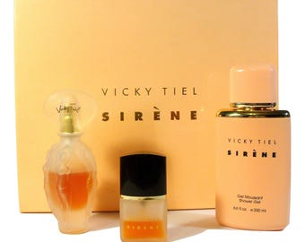 Vintage 1990s Sirene by Vicky Tiel 3 pc Perfume Gift Set Eau de Parfum & Shower Gel ORIGINAL FORMULA