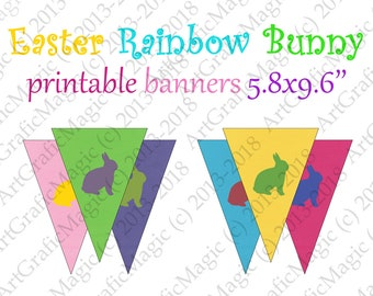 Easter Bunny Banner Printable - Rainbow Bunting Party Decoration Pennants Mix Birthday Flags Baby Shower Digital Pennants Instant Download