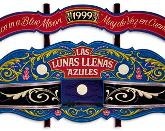 Las Lunas Llenas Azules - Poster - Sign painting, fileteado, moon landscapes, flowers