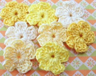 Crochet Yellow Flower Appliques - Set of 8