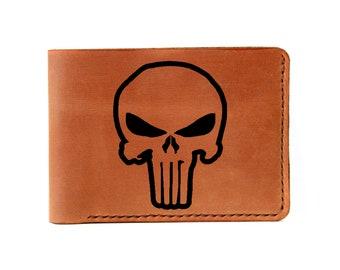 Punisher/Skull/engraved wallet/the punisher/gift/personalized wallet/custom wallet/geek gift/punisher gift/boyfriend gift/groomsmen gift