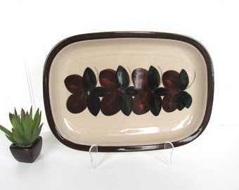 Arabia Finland Ruija Rectangular Brown And Black Serving Platter, Danish Modern Serving, Scandinavian Platter, Housewarming gift