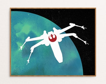 X Wing Starfighter Star Wars Rebel Alliance Minimalist Poster