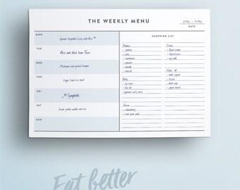 The Weekly Menu Printable // Weekly Menu Planner. Shopping Grocery List. Food Schedule. Menu Planner. Vegan Plant Based Meal Planner.
