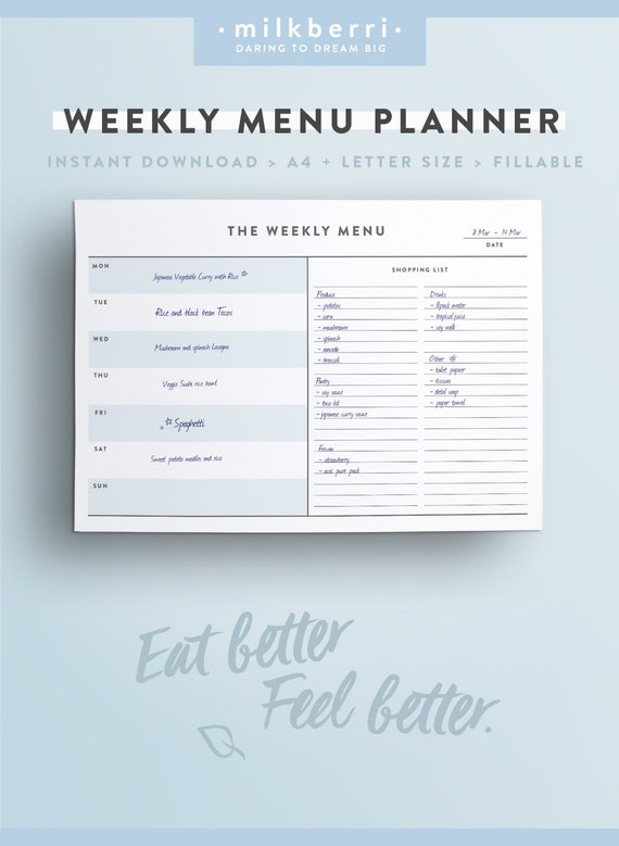printable weekly menu planner