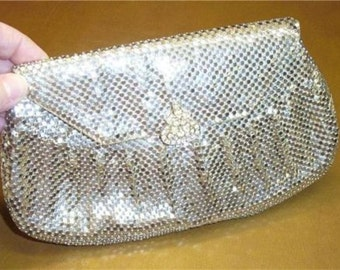 Vintage SILVER Metal-Mesh Clutch Purse signed, WHITING and DAVIS