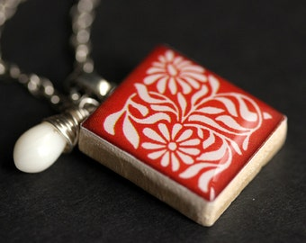 Dutch Flower Necklace. Red Necklace. Scrabble Tile Necklace with White Coral Teardrop. Floral Necklace. Silver Necklace. Handmade Jewelry.