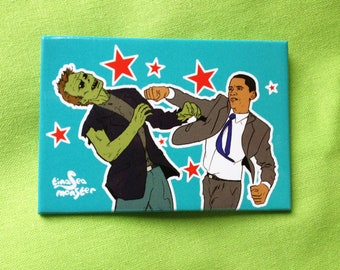 Obama Vs Zombies TEAL 2 by 3 inch Fridge Magnet