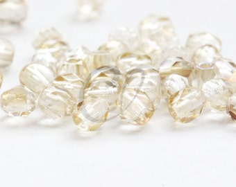 50pcs Czech Fire Polish Glass Faceted Round-Twilight Crystal 3mm (322901)