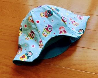 Baby reversible hat, matryoshka baby hat, Baby hat