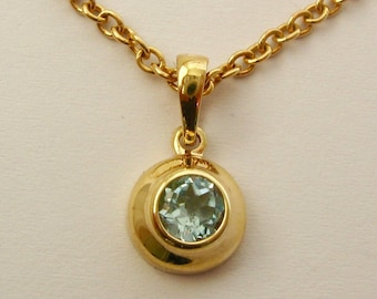 Genuine SOLID 9K 9ct YELLOW GOLD March Birthstone Aquamarine Pendant