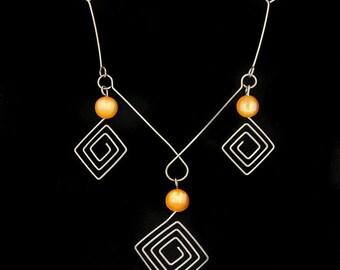 Vtg Geometric Wire Necklace Orange Moonglow Bead Accents 1960s Op Art