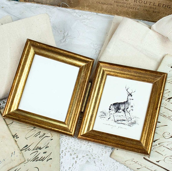 Two Mini Hinged Double Deluxe Gold Photo Frames Weddings 50th ...