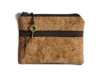 Coin pouch, cork card holder, travel pouch, mini wallet, double zipper purse, earbud case, key bag, zipper pouch accessory bag, change purse