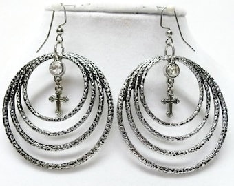 Silver Plated Multi Circles w/Rhinestone & Cross Earrings Set