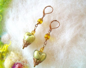 Beaded Earrings with Glass Beads Vintage Style Dainty Earrings Filigree Caps Olive Green Heart Pink Rose Lamp Work Bead Boho Hippie Beads