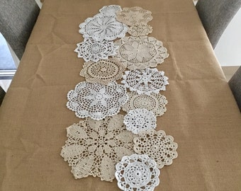 Set of 14 pcs ~ Assorted crocheted doilies, hand made lace doilies for DIY, Round doilies for doily runner ~ DIY doily set ONLY