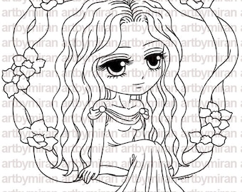 Digital Stamp - Shea(#224), Digi Stamp, Coloring page, Printable Line art for Card and Craft Supply