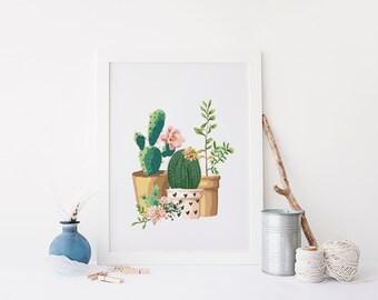PRINTABLE Art Cactus Art Print Cactus Wall Art Home Decor Pink Nursery Decor Floral Cactus Art Print Garden Art Print Pink and Green