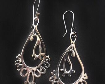 Floating Leaf Sterling Silver Earrings