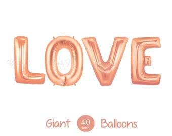 "New Rose Gold LOVE Balloons -  Giant 40"" Inch Rose Gold Mylar Balloons in Letters L-O-V-E  - Valentines Day Balloons, Wedding Decorations"