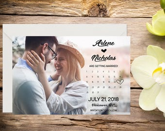 Photo Save the Date,  Classic Wedding, Romantic Wedding, Save the Date Template, Save the Date Card, Save-the-date