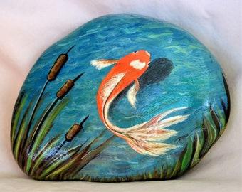Fish Garden Rock, Both Sides Painted * Koi Pond Art *Hand Painted Stone Art*Zen Pond* Home Decor* Rock Garden*Fish Pond Art* Fish Sculpture