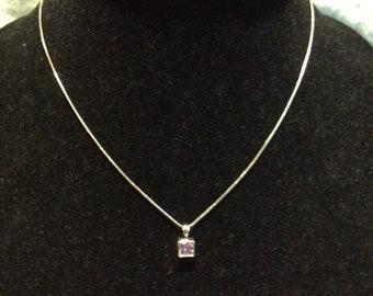 Tiny Pink Pendant Necklace