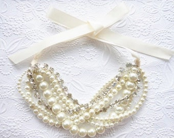 Chunky Pearl Rhinestone Necklace, Pearl Rhinestone Statement Necklace, Bridal Pearl Necklace, Chunky Pearl Necklace