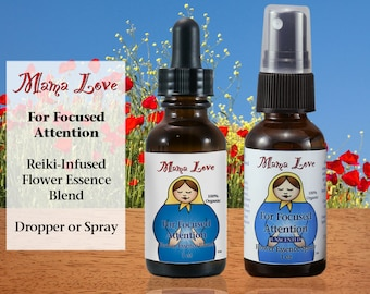 Focused Attention, Unscented Flower Essence Spray, Organic Reiki-Infused for People Who Need Energy to Focus Creatively and Follow Through