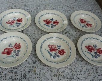 """6 soup plates in perfect condition,  SARREGUEMINES DIGOIN FRANCE brand ceramic, model """"Cannes"""""""
