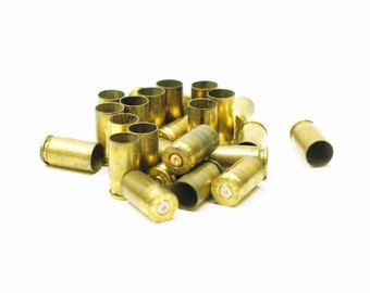 9mm Bullet Casing Rounds - Brass Spent Pistol Bullets - Scrapbooking Upcycled Jewelry Crafting Supplies