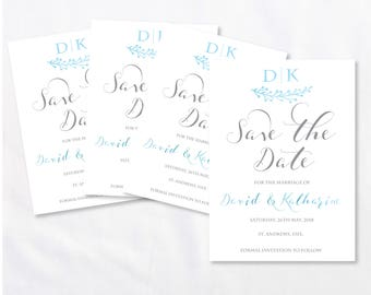 Wedding Save The Date Printable - Frosty Blue Monogram Branches